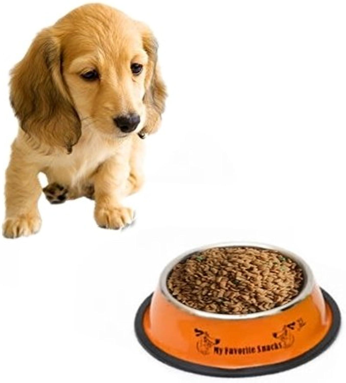 Pet Supplies Stainless Steel Bowls Anti-Slip colorful Paint Printed Pets Bowls, Diameter  25.5 cm (color   orange)