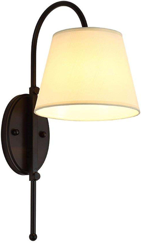 Wandleuchte, Amerikanische Bett Wandleuchte Schlafzimmer Einfache Fashion TV-Kulisse Lampen Creative Gang Treppe Hotel Zimmer E27 Leicht zu Reinigen (Farbe  Single)