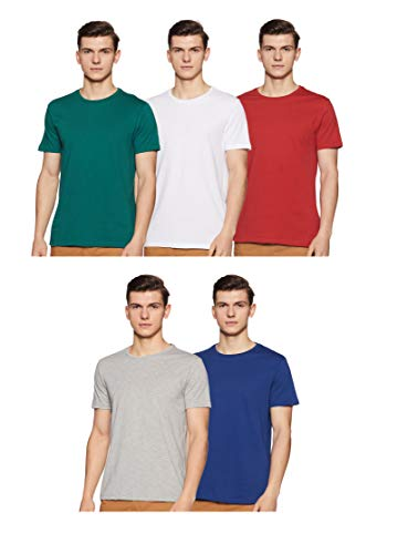 Amazon Brand - Symbol Men's Solid Regular Fit Half Sleeve Cotton T-Shirt (Combo Pack of 5) (AW17PLPO5-4_XXL_Multicolor4)