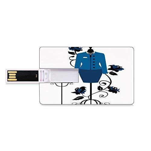 128G USB-Flash-Thumb-Laufwerke Absätze und Kleider Bank Kreditkarte Form Business Key U Disk Memory Stick Speicher Mannequin im Schneidershop mit blühender Blumen-Retro- klassischem dekorativem,blauem