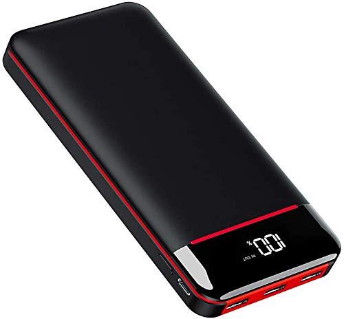 KEDRON Cargador portátil de 25000 mAh, alta capacidad con pantalla digital LED y luces LED, 3 salidas USB y entrada doble, batería externa para todos los teléfonos inteligentes y más dispositivos