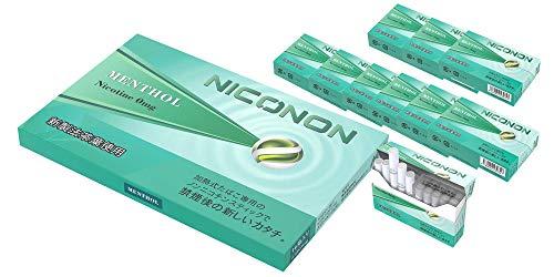 NICONON ニコノン 禁煙後の新しいカタチ。アイコス互換機 次世代ニコチン0mg加熱式スティック (メンソール, 1カートン(10箱入り)