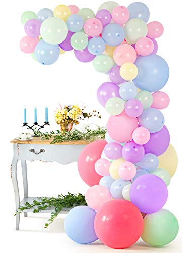 Pastel Balloon Garland Arch Kit – 104 Pcs Assorted Pink, Purple, and Blue Latex Balloons – 16-foot DIY Party Supply Decorations for All Occasions – Birthdays, Showers, Weddings, Graduations