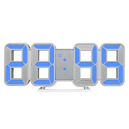 Digitale wandklok Grote tijd 3D LED Alarm Datum Temperatuur Nachtlampje Tafel Bureauhorloge Huisdecoratie Hang Elektronische klokken, blauw