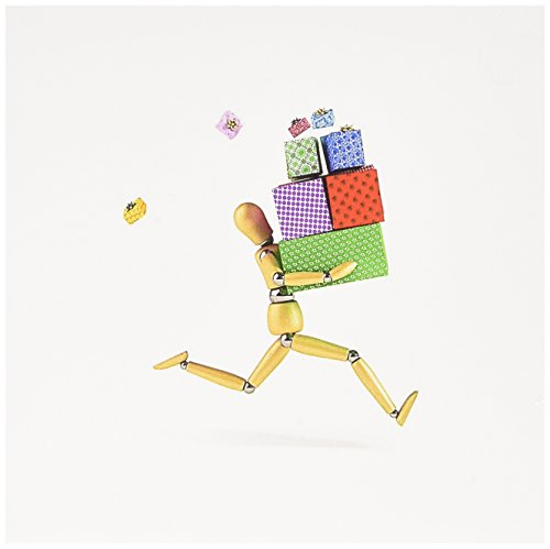 3dRose Wooden mannequin rushing with a bunch of gifts artists figure funny presents shopping - Greeting Cards, 6 x 6 inches, set of 12 (gc_159459_2)