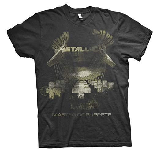 Metallica Master of Puppets Distressed_Men_bl_TS: L Camiseta, Negro (Black Black), Large para Hombre