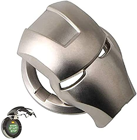 Black Circle Ring Cover Iron Man Car Interior Accessories(Black,Silver) Car Engine Ignition Push Start Button Cover
