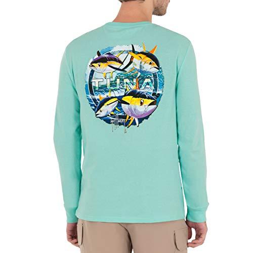 Guy Harvey Offshore Haul Tuna Long Sleeve Pocket T-Shirt, Beach Glass Tuna, Medium