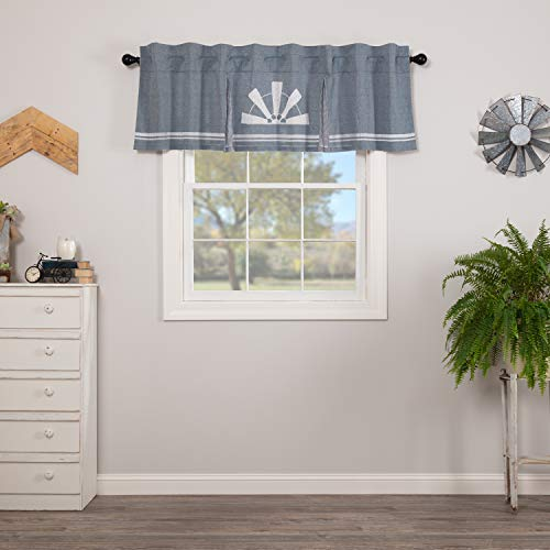 VHC Brands Farmhouse Kitchen Sawyer Mill Windmill Rod Pocket Cotton Hanging Loops Stenciled Chambray Graphic/Print 20x72 Curtain, Valance, Blue