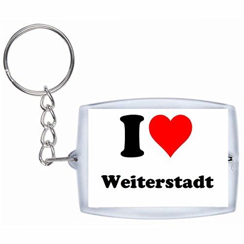 Druckerlebnis24 Schlüsselanhänger I Love Weiterstadt in Weiss - Exclusiver Geschenktipp zu Weihnachten Jahrestag Geburtstag Lieblingsmensch