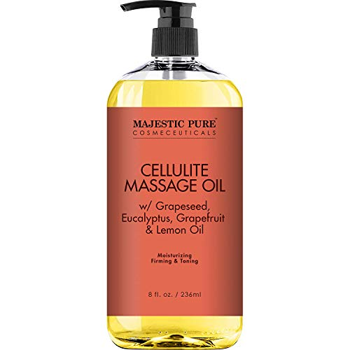 Majestic Pure Natural Cellulite Massage Oil, Unique Blend of Massage Essential Oils - Improves Skin Firmness, More Effective Than Cellulite Cream, 8 fl oz