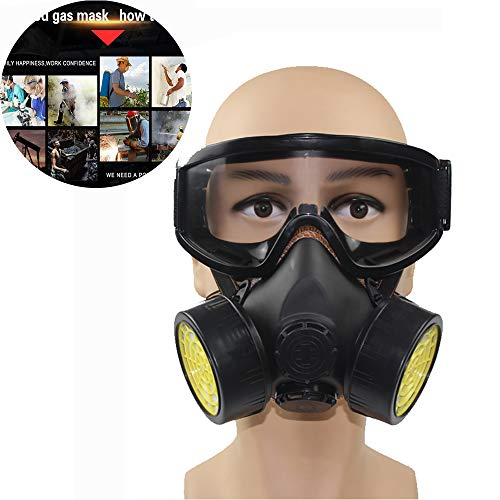 Volgelaatsmasker, Gasmaskermasker met vizierbescherming, filterkatoen, professioneel veiligheidsmasker voor verf, stof, gasmasker