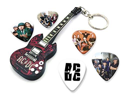 We Love Guitars ACDC Angus Young WKC 1 Mini-Gitarren-Keyring&5XPlektren