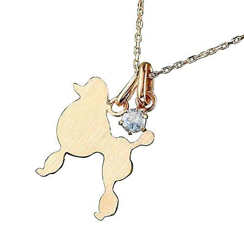 [アトラス] Atrus ネックレス レディース 18金 ピンクゴールドk18 ブルームーンストーン 犬 スタンダードプードル ペンダント トップ 6月誕生石 チェーン(sv925ピンクメッキ)