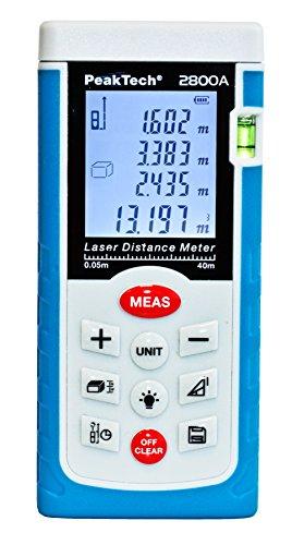 Peak Tech Profesional–Telémetro láser 0.05m hasta 40m–Medidor de distancia con alta precisión y superficie cálculo, 1pieza, P 2800a