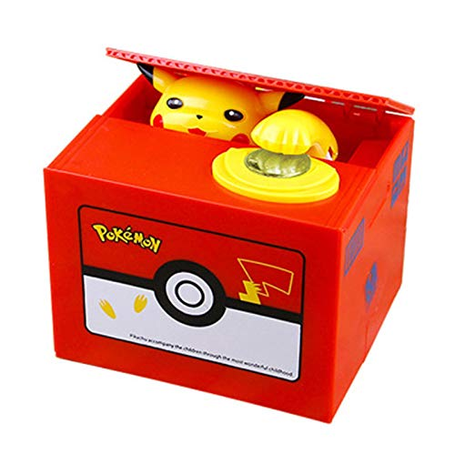 Zking Lindo Pokemon Pikachu Anime Hucha Electrónica Robar Moneda Hucha Caja De Seguridad para Regalo De Cumpleaños Decoración De Escritorio Figura De Acción 12 * 9 * 10Cm