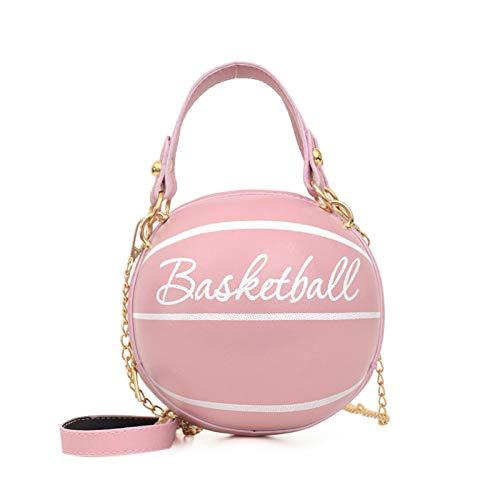 Basketball Fußball Handtasche Runde Umhängetasche, Frauen Ballform Kleine Lederhandtasche Mädchen Funky Travel Umhängetasche, Einzigartige Geldbörsen und Handtaschen für Frauen (Pink,Basketball)