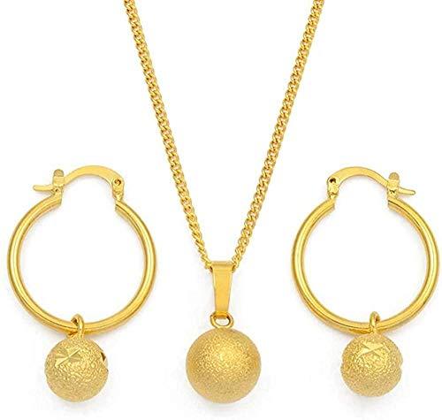 NONGYEYH co.,ltd Collar con Colgante de Perlas esmeriladas, Pendientes para Mujeres, niñas, Juegos de Joyas, Bolas Redondas, Colgante, Regalos de Fiesta