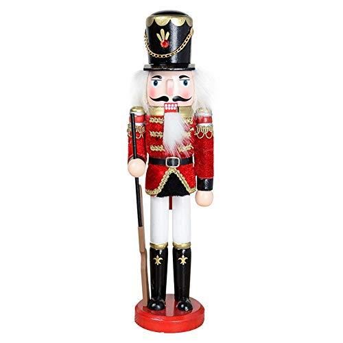Soldado Cascanueces de Madera, Viva Figuras de Soldado Madera Modelo de Cascanueces Ornamentos de Artesanía de Cascanueces para Navidad, 30 cm de Alto, con Soporte