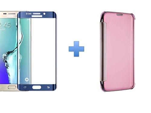 BPFY – Funda protectora para Samsung Galaxy S7 Edge – Color rosa espejo con tapa + cristal protector curvado azul de vidrio templado 9H – para Samsung Galaxy S7 Edge – Top producto