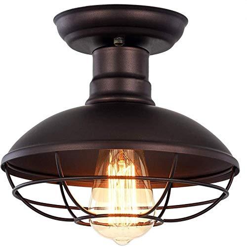 Mini lámpara de Techo de Jaula de Metal Industrial Vintage, Estilo Granja, iluminación Colgante Bronce rústico, lámpara en Forma cúpula montada Semi empotrada para Entrada Porche Garaje Cocina