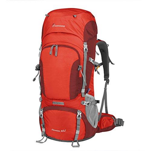 MOUNTAINTOP 60L Sac à Dos de Randonnée/Trekking/Vayage/Camping/Alpinisme (Orange, 60L)