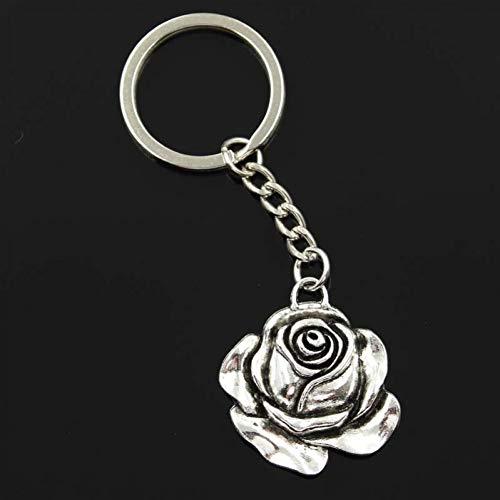 N/ A SGDONG Fashion Mannen 30Mm Sleutelhanger Diy Metalen Houder Ketting Rose Bloem 36X33Mm Zilver Kleur Hanger Gift