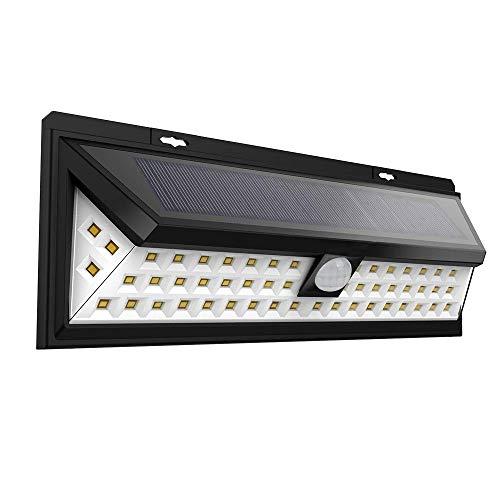 VOVOVO Foco Solar Exterior,Luces Solares Jardín 54 LED, Gran Ángulo 120°, Impermeable, 3 Modos y Sensor de Movimiento para Jardín, Patio, Garaje, Camino, 1 Pieza