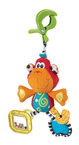Playgro 182854 - Dingly Dangly, Curly el mono, juguete con sonajero para bebe, lactancia