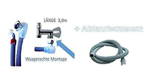 Aquastop 3, 0 Meter Schlauch/Aquastop/Sicherheitszulaufschlauch für Waschmaschine und Geschirrspüler 3/4 Zoll + Aktion mit Ablaufschlauch 3,0 m