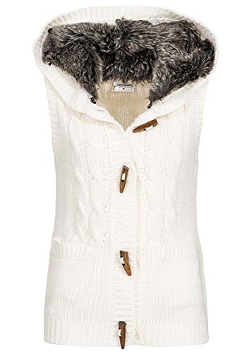 Seventyseven Lifestyle Damen Fake Fur Knit Vest Ecru Weiss