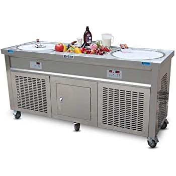 Kolice Commercial 110V 60HZ USA Franchise Double Round Pans STIR Fried ice Cream Machine, Instant stir roll ice Cream Machine,auto defrost,10 pre-Cooling Tanks