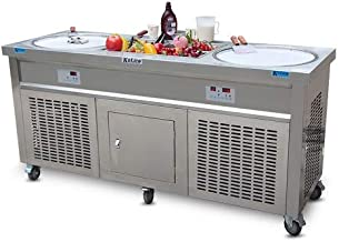 Ment 110V 60HZ USA Franchise Snack Food Street Food carts Double Round Pans STIR Fried ice Cream Machine Instant stir roll ice Cream Machine Instant Fry ice Cream roll Machine