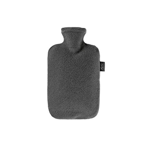 Fashy Hot Water Bottle with Fleece Cover, Anthracite