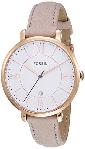Fossil Women's Jacqueline Quartz Leather Two-Hand Watch, Color: Rose Gold, Blush (Model: ES3988)