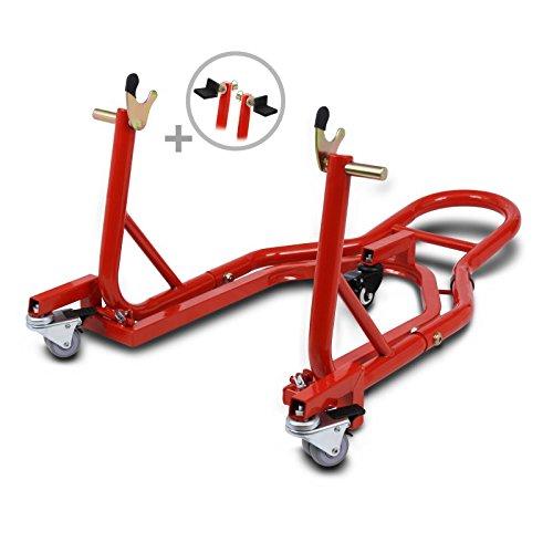 ConStands Mover II Universal - Motorrad Montageständer Hinten Rangierhilfe Hinterrad-Ständer Heber Rot