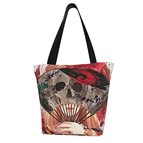 Estilo chino cráneo arte chica mujer gran bolso superior asa cremallera bolsa Tote moda niñas viaje escuela Crossbody comestibles lona compras