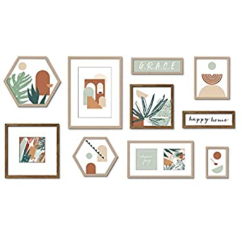 ArtbyHannah 10 Pcs Multi Size Gallery Wall Frames Set Photo Decorative Abstract Wall Art Decor Tropical Plant Art Prints with Hanging Template Picture Frame Collage Set