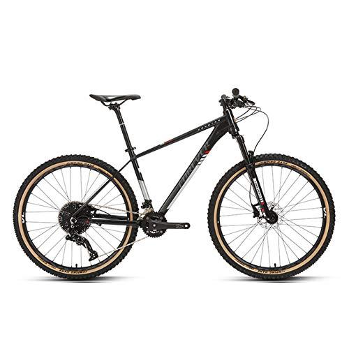 JKCKHA Bicicleta De Montaña para Hombre, Suspensión Delantera, 24 Velocidades, Ruedas De 27,5 Pulgadas, Cuadro De Aluminio De 17 Pulgadas, Negro,27.5 Inches