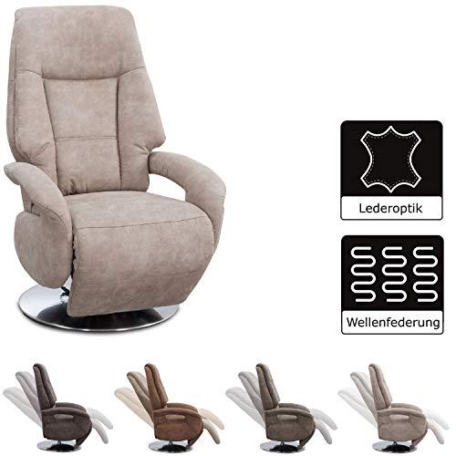 Cavadore TV-Sessel Edinburgh / Fernsehsessel mit manuell verstellbarer Relaxfunktion / 74 x 114 x 77 / Lederoptik: beige