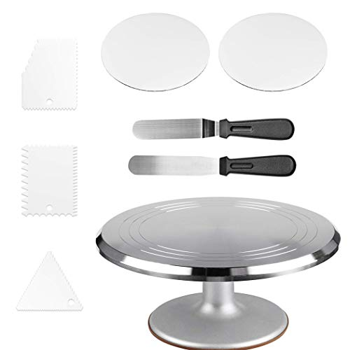 Aluminium Alloy Revolving Cake Turntable  with 12#039#039 Rotating Cake Decorating Stand2 Piece 10 Inch Cake Boards 2 Angled Icing Spatulas3 Icing Combs