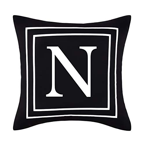 Yastouay Pillow Covers English Alphabet N Throw Pillow Cover Black Throw Pillow Case Modern Cushion Cover for Sofa Bedroom Chair Couch Car (Black, 18 x 18 Inch)