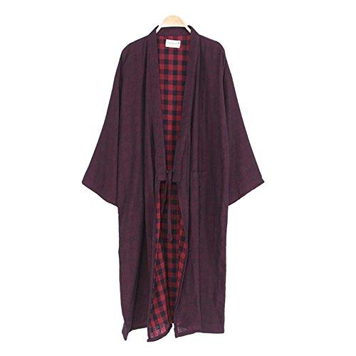 Fancy Pumpkin Trajes de Estilo japonés de los Hombres Pure Cotton Kimono Robe Albornoz Pijamas # 02