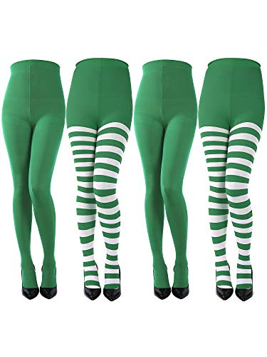 Sumind 4 Pairs Christmas Striped Tights Full Length Tights Thigh High Stocking for Christmas Halloween Costume Accessory (Color D)