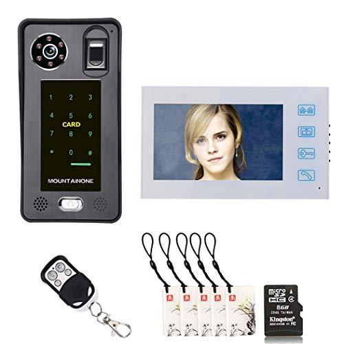 TYXS video-deurintercom, deurbelsysteem, deurintercom met 7 inch monitor, 1 camera voor 1-familiehuis, touch-knop, nachtzicht, ondersteuning automatisch snapshot/opnemen