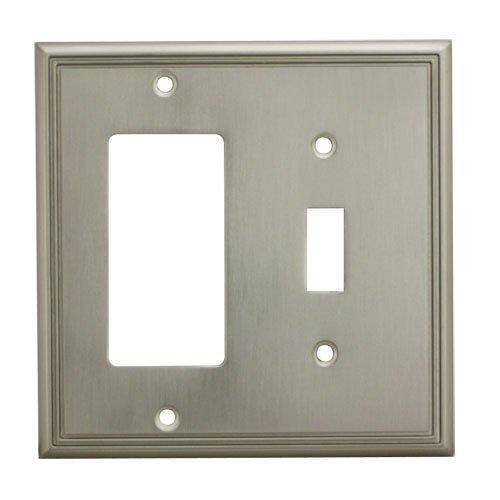 Cosmas 65027-SN Satin Nickel Single Toggle/GFI Decora Rocker Combo Wall Switch Plate Switchplate Cover