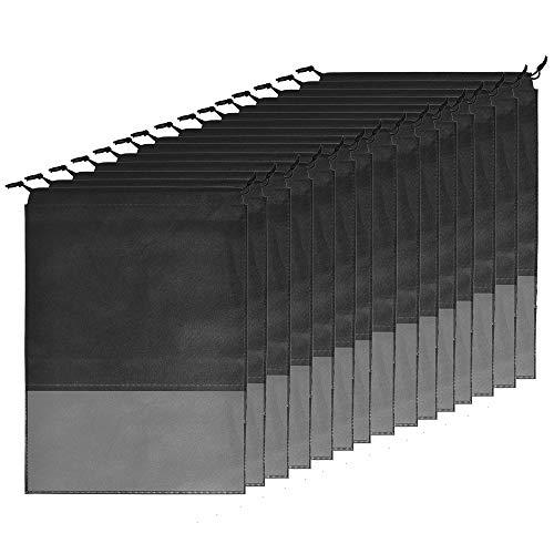 Schuhbeutel 15 Stück, Luoistu Schuhtasche mit Zugband/Transparente Fenster, Staubabweisende Atmungsaktiv Schuhtaschen, für Reisen oder Zuhause-Aufbewahrung 44x32cm (Schwarz)