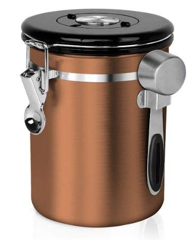 Chef's Star Stainless Steel Airtight Canister Coffee Vault with Built-in CO2 Gas Vent Valve and Date Tracking Wheel for Coffee Beans and Coffee Grounds (32 oz, Copper)