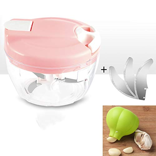 YLIAN Vegetable Choppers Manual Food Chopper,Fruit And Cheese Cutter, Handheld Mini Chopper,With 1 Set Of Spare Blades,With Green Silicone Garlic Peelers 500ml (Color : C)
