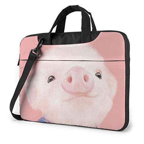 Lawenp Estuche para computadora portátil Bolsa de computadora Funda de manga Patrón de cerdo rosa Maletín de hombro impermeable 13 14 15.6 pulgadas
